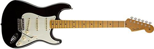 - Fender Eric Johnson Stratocaster Maple Electric Guitar, Black, Maple Fretboard