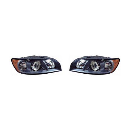V40 Headlamp Assembly - Fits Volvo S-40 2004-2007(New Style)/V-50 2005-2007 Headlight Assembly Halogen Pair Driver and Passenger Side VO2502117, VO2503117