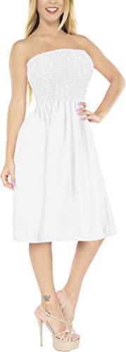 Smocked Cover - LA LEELA Rayon Solid Hawaiian Casual Backless  Tube Dress White 2116 One Size