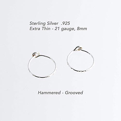 Extra Small and Thin Sterling Silver Hoop Earrings Cartilage Tragus Tiny Hoops, Handmade Hammered, ()