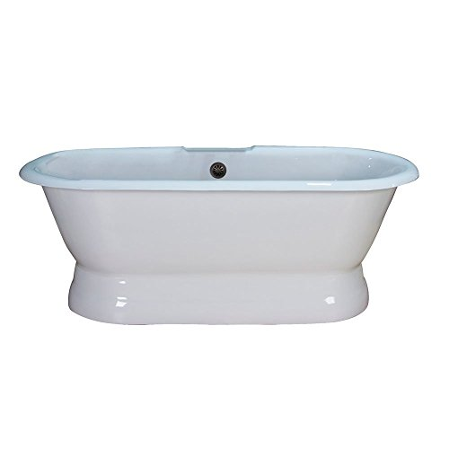 """Barclay CTDR7H60B-WH Conrad 60"""" Cast Iron Double Roll Top Tub, White"""