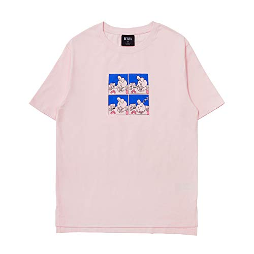 BT21 Official Merchandise by Line Friends - Cooky Character Unisex Artwork Graphic T-Shirt, Medium, Light Pink