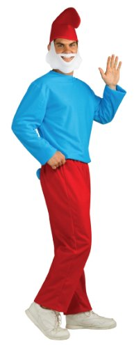 The Smurfs Adult Papa Costume, Blue/White, -