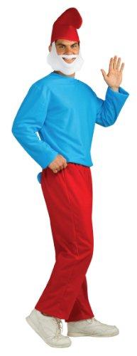 Halloween Smurf Costume (The Smurfs Adult Papa Costume, Blue/White,)