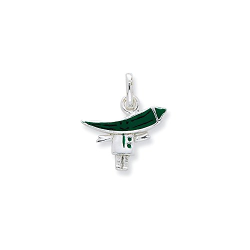 Mireval Sterling Silver Enameled Green Chili Pepper Person Charm