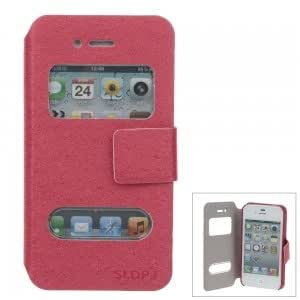 SLDPJ Stylish Ultra-thin Protective PU Leather Case Cover with Visual Window for iPhone 4/4S Red