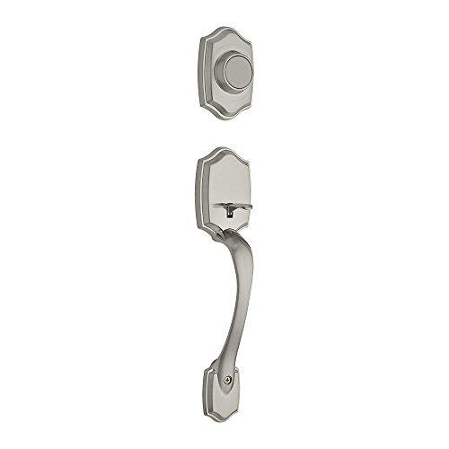 (Kwikset 699BW Lip 15 Belleview Exterior Double Cylinder Entrance Handleset Finish: Satin Nickel )