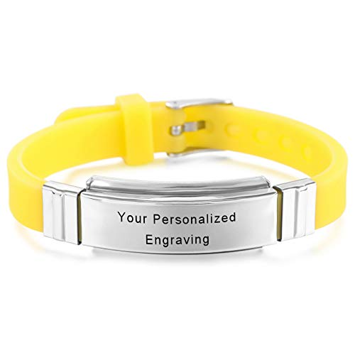 MeMeDIY Silver Tone Yellow Stainless Steel Rubber Bracelet Bangle Cuff - Customized Engraving