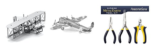 Fascinations Metal Earth Wright Brothers Airplane 3D Metal Model Kit, Metal Earth Avro Lancaster 3D Metal Model Kit and 3 – Piece 3D Model Tool Kit bundled by Maven Gifts ()