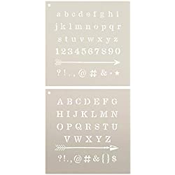 "Lettering - Upper & Lower Case with Arrows Stencil - 2 Part by StudioR12 | Reusable Mylar Template | Use to Paint Wood Signs - Pillows - Monogram - DIY Lettering Projects - Select Size (12"" x 12)"