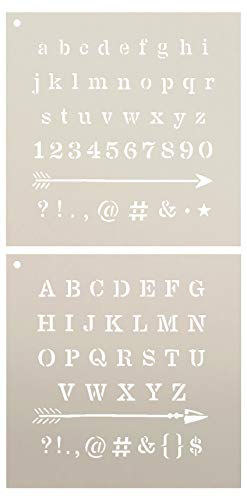 Lettering - Upper & Lower Case with Arrows Stencil - 2 Part by StudioR12 | Reusable Mylar Template | Use to Paint Wood Signs - Pillows - Monogram - DIY Lettering Projects - Select Size (18