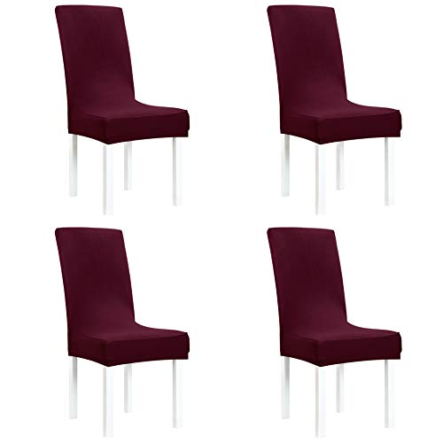 Obstal Stretch Spandex Dining Room Chair Covers - Set of 4 Burgundy Universal Removable Washable Chair Seat Slipcovers Protector for Kitchen, Ceremony, Wedding, Banquet, Hotel and Party