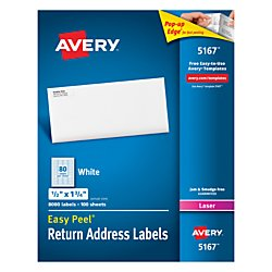 Avery(R) Easy Peel(R) Permanent Laser Return Address Labels, 5167, 1/2in. x 1 3/4in., White, Pack Of 8,000