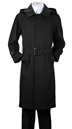 De Valoure Big Boys' Dressy Rain Coat with Belt Water Proof Trench Coat Black 8 by De Valoure