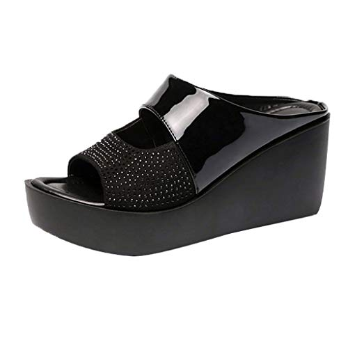 Women's Wedge Platform Slide on Sandals Open Toe PU Sandals Summer Fashion Slippers Thick Bottom Sandals Black