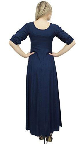 Bimba Ricamato Vestito Esclusivo Rayon 3/4 Manica Lunga Maxi Abiti Blu Navy