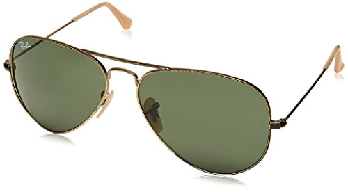 Ray-Ban AVIATOR LARGE METAL - ANTIQUE GOLD Frame GREEN Lenses 58mm - Antique Bans Ray