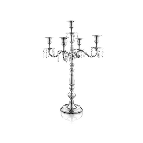 5 Candle Holder (Klikel Traditional 16 Silver 5 Candle Candelabra With Crystal Drops - Classic Elegant Design - Wedding, Dinner Party And Formal Event Centerpiece - Nickel Plated Aluminum, Dangling Acrylic Crystals)