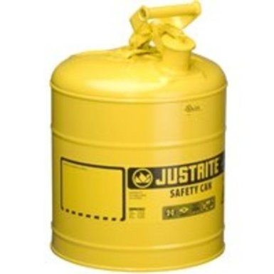 Justrite Type I Safety Cans, Diesel, 5 gal, Yellow