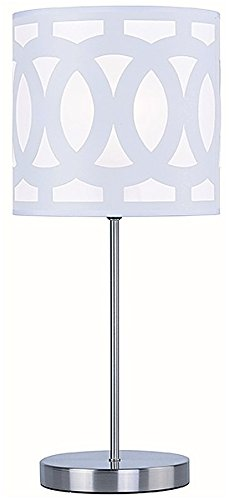 19 Tall Contemporary Style Table Lamp Park Madison Lighting PMT-1904-30 White Shade in Satin Nickel Finish
