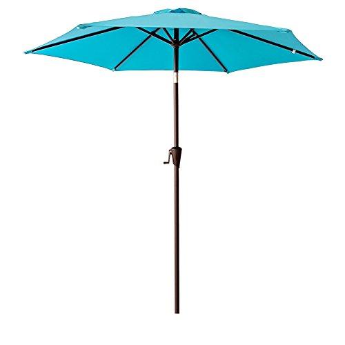 - FLAME&SHADE 7.5' Outdoor Patio Umbrella Market Style for Table Café Small Deck Balcony Garden Yard with Crank and Tilt, Aqua Blue