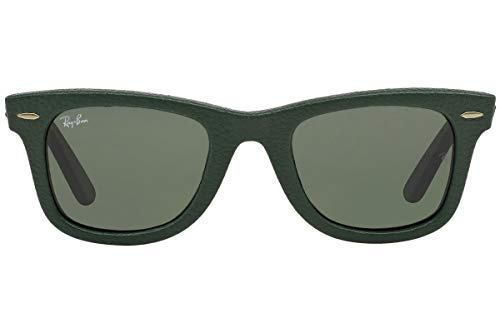 Ray-Ban RB2140QM Wayfarer Sunglasses, Used Leather Green/Green, 50 mm