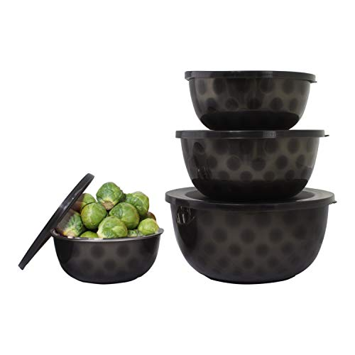 4 pc Stainless Steel Mixing Bowls with Lids – Mixing Bowl Set – Salad Bowl Set – 4 Bowl Sets for Kitchen – Microwave Bowl Set - Serving Bowl Set (Black)