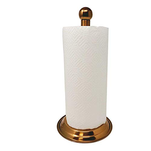 Modern Standing Up Paper Towel Holder/Easy One-Handed Tear Kitchen Paper Towel Dispenser with Weighted Base (Stunning Copper)