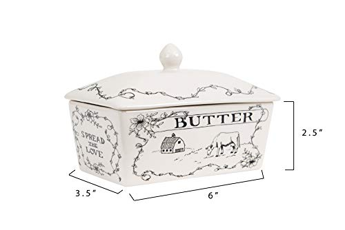 Creative Co-Op Country Style Butter Dish White and Black by Creative Co-op (Image #1)