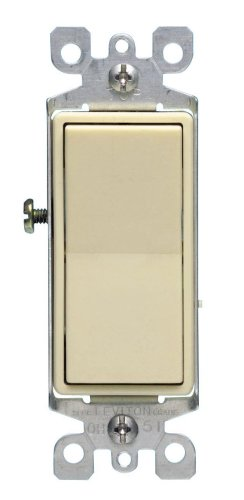 Leviton 5604-2I 15 Amp, 120/277 Volt, Decora Rocker 4-Way AC Quiet Switch, Residential Grade, Grounding, Ivory ()
