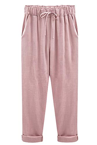 chouyatou Women's Summer Drawstring Elastic Waist Casual Cotton Linen Cropped/Capri Harem Pants (Small, Capri Pink)