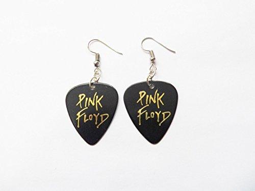 PINK FLOYD guitar pick plectrum pick silver tone EARRINGS black gold - Pink Floyd Earrings