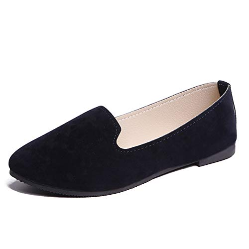 DeerYou Classic Suede Ballet Flat Comfort Driving Loafers Slip On Round Toe Walking Ballerina Shoes Black US 4.5