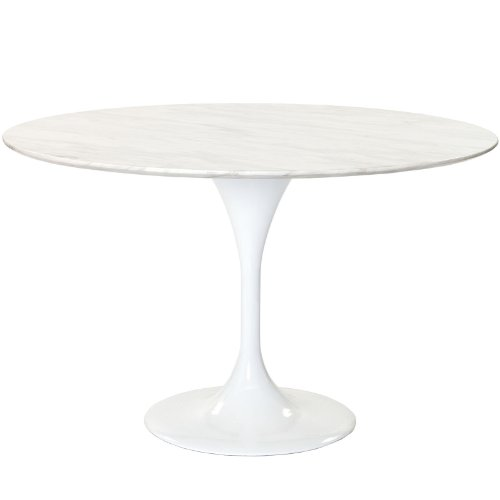"""Modway 48"""" Eero Saarinen Style Tulip Dining Table with White Marble Top"""