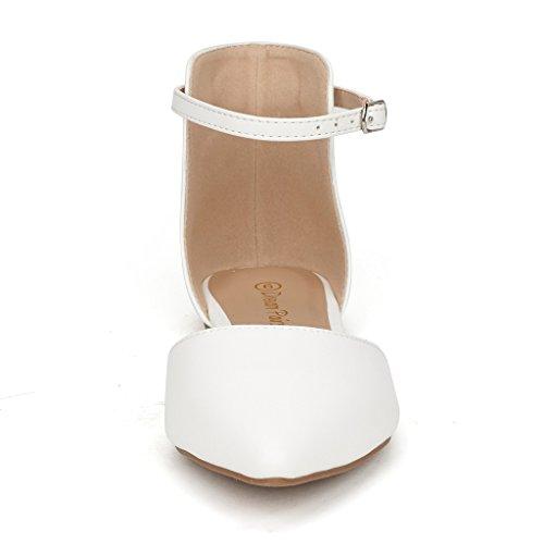 DREAM PAIRS FLAPOINTED Frauen Casual D'Orsay wies Plain Ballett Comfort Soft Slip auf Wohnungen Schuhe neu Knöchel - weiß-pu