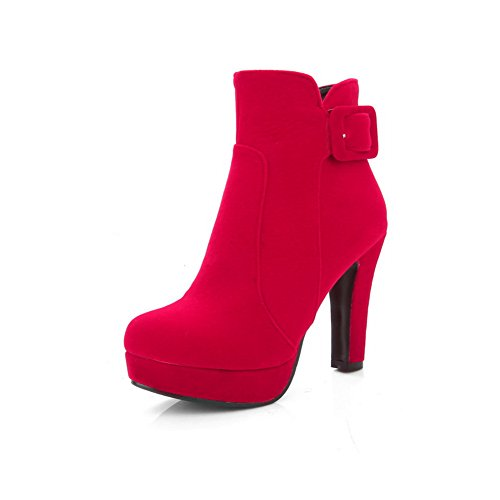 Boots Womens Platform Chunky Heels Red Buckle AdeeSu Frosted THqYdYSw