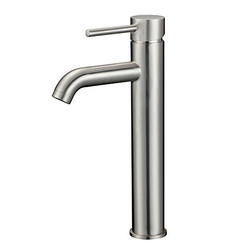 KDK Bathroom Basin Faucet Vessel Bowl Sink Faucet Tall Body Single Handle One Hole Deck Mount Lavatory Solid Brass Brushed Nickel ()