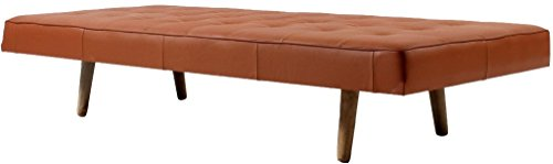 Cheap SECOND MAY – Bench 74.80″(L)X31.49″(W)X14.5″(H) Inch High Resilient Foam Italian Genuine Leather Breathability, Steady, Durable, Artistic. Mattress Detachable (TAN)