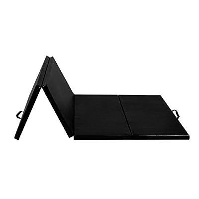 """HEATAPPLY Gym Mat, 4' x 8' x 2"""" Folding Panel Exercise Gymnastics Mat, Black"""