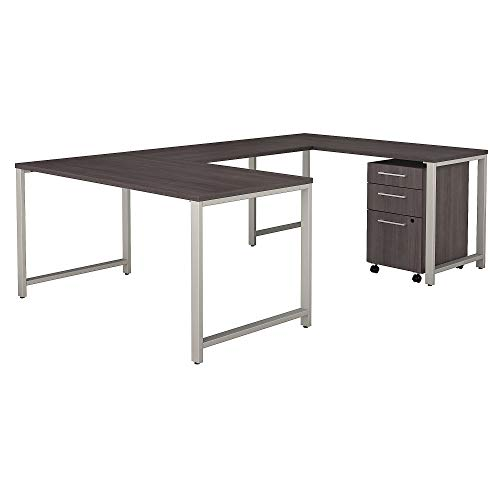 Bush Business Furniture 400 Series 60W x 30D U Shaped Table Desk with 3 Drawer Mobile File Cabinet in Storm Gray (Levelers Off Roll)