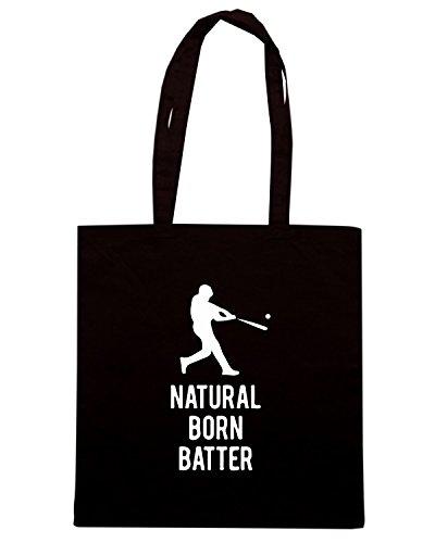 T-Shirtshock - Bolsa para la compra WC1177 Natural Born Batter Maglietta Negro
