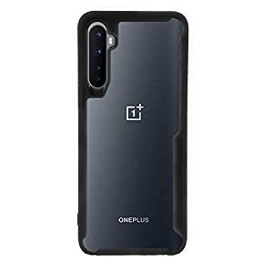Plus Bumper Case with Clear Back Hard Panel Protective Case Cover for Oneplus Nord (Black)