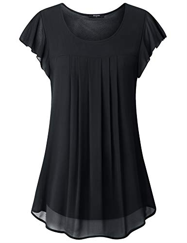 Lotusmile Women Tops for Work, Ladies Summer Casual Looses Short Sleeve Layered Chiffon Blouses Lightweight Professional Business Wear Shirts Pleated Round Neck A Line Tunic Fashion 2019,Black XXL ()