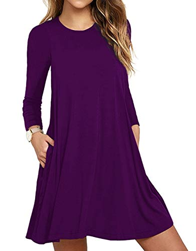 Women's Long Sleeve Pockets Casual Swing T-Shirt Dresses Purple Large