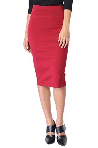 TheMogan Junior's Curvy 4 Way Stretch Ponte High Waist Midi Pencil Skirt Dark Red S