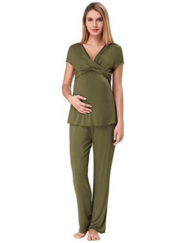 Summer Pajamas for Women V-Neck Sleepwear Bamboo Viscose Postpartum Pjs XXL Army Green