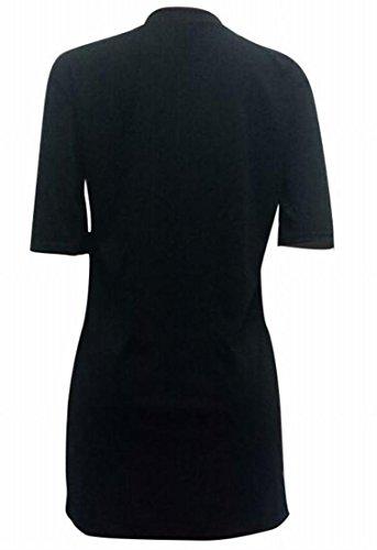 Domple Femmes Aiment Imprimé Style 1/2 Manches Mini-robe Casual Noir