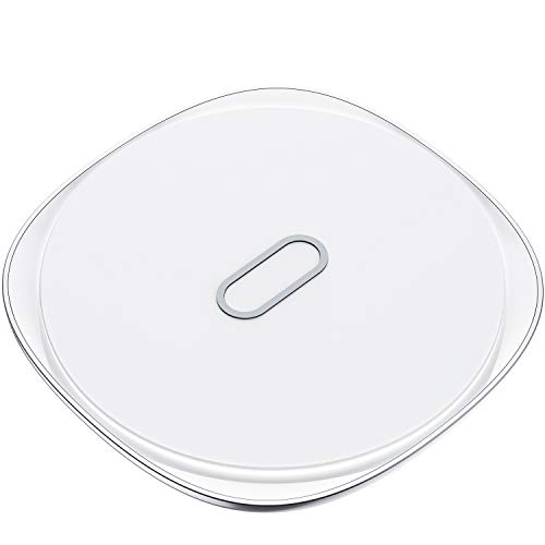 (Wireless Charging Pad, Kuulaa Qi Certified 10W/7.5W Fast Wireless Charger Metal Zinc Alloy & Ultra Slim for Samsung Galaxy S9/S8/Note 9 and iPhone Xs/XS Max/XR/X/8/8 Plus(No AC Adapter) (White))