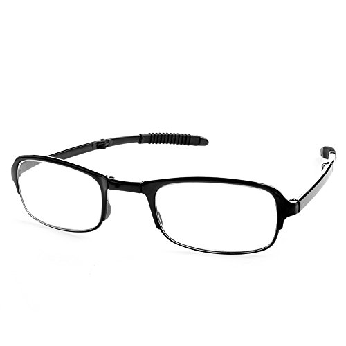 Doober Unisex Foldable Reading Glasses Folded Hanging +1 +1.5 +2 +2.5 +3 +3.5 +4.0 (Black, - Folded Glasses