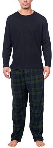 Flannel Striped Pajama Pants (Wanted Men's Thermal Top With Ultra Soft Micro Fleece Pant Pajama Set (Blue/Green, S))